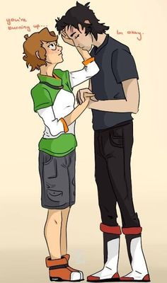 Kidge- Pidge and blushing Keith from Voltron Legendary Defender