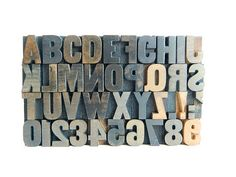 Vintage letterpress wood type 40 pieces alphabet by monkisaid