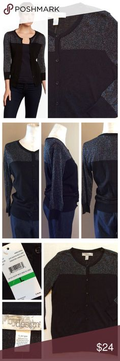 """Black Cardigan Beautiful black cardigan with integrated metallic threading on upper half. Full front button closure, 3/4 sleeves and ribbing at waist and sleeves. NWT condition- never worn. Size L, 18.5"""" chest and 25"""" length. Sweaters Cardigans"""