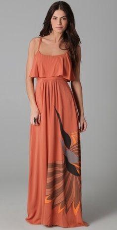 70's style birds Maxi dress