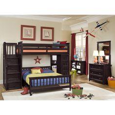 NE Kids School House Chocolate Stair Loft Chest End Full Lower Bed