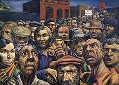 Manifestación, 1934, temple s/arpillera, 180 x 249,5 cm. Museo de Arte Latinoamericano. Buenos Aires. Algunos personajes se basan en fotos que Berni obtenía por sí mismo, del diario Crítica o de otras fuentes