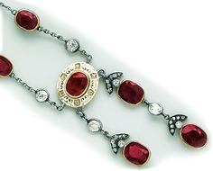 .Burma  ruby, diamond, enamel, gold and platinum necklace.