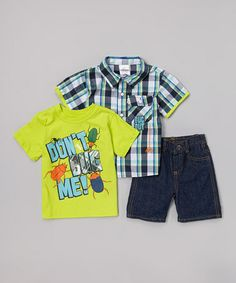 Love this Green 'Don't Bug Me' Shorts Set - Toddler by Little Rebels on #zulily! #zulilyfinds