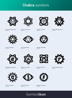 Chakra symbols are found in Hinduism and Buddhism, both of which have their roots in the Indian subcontinent. These traditions are grouped together as Tantra. Buddhism Symbols, Sanskrit Symbols, Hindu Symbols, Indian Symbols, Sanskrit Quotes, Yoga Symbols, Sanskrit Tattoo, Chakra Symbols, Sanskrit Words