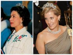 From Her Majestys Jewel Vault: The Five Aquamarine Tiara-This tiara, composed of five aquamarines set in a ribbon-like diamond surround, was worn once by the Queen during a 1970 trip to Canada before it disappeared back into the vault.  In 2012, it reappeared on the Queen's daughter-in-law the Countess of Wessex  for the Luxembourg Royal Wedding and State Banquet for Indonesia.  Photos-left, Queen Elizabeth and right, Countess of Wessex.
