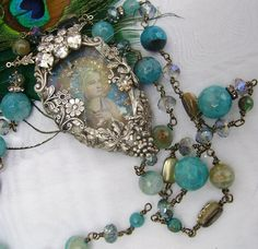 Romancing the Bling: Embelished Soldered Vintage Rhinestone Assemblage Necklace, etc...