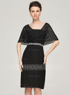 Sheath/Column V-neck Knee-Length Ruffle Beading Sequins Zipper Up Sleeves Short Sleeves No 2015 Black Spring Summer Fall General Plus Chiffon Mother of the Bride Dress