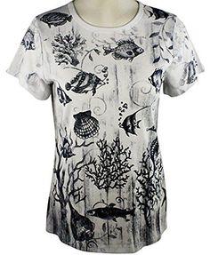 Cactus Fashion - Under the Sea, Short Sleeve, Scoop Neck Cotton Rhinestone Top
