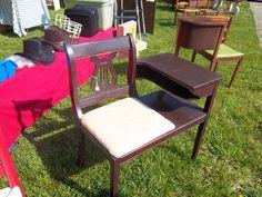 Gossip Bench Telephone Table Vintage 1950's Harp / Lyre Seat