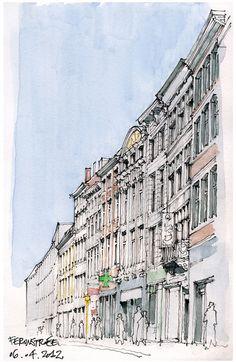 Architectural Sketches - Liège, Féronstrée by gerard michel, via Flickr
