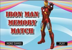 Play Iron Man Memory Game -  #IronMan Games For Boys, More Games, Games To Play, Iron Man Games, Play Online, Comic Books, Memories, Souvenirs, Comic Book
