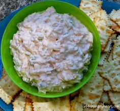 Spicy Shrimp Dip made with sauteed green bell peppers and onions, rooster sauce, garlic and of course - shrimp!