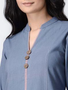 Blue Handwoven Khadi Cotton Kurta