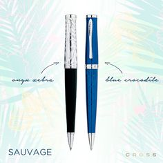 Pinterest Pin - Luxury writing instruments meet exotic style. Shop our Sauvage line in Blue/Crocodile or Onyx Zebra. Available in ballpoint, rollerall, or fountain pen.