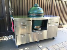 Big Green Egg Table, Green Eggs, Outdoor Kitchens, Outdoor Cooking, Stainless Table, Ceramic Cooker, Cart, Bbq, Tables