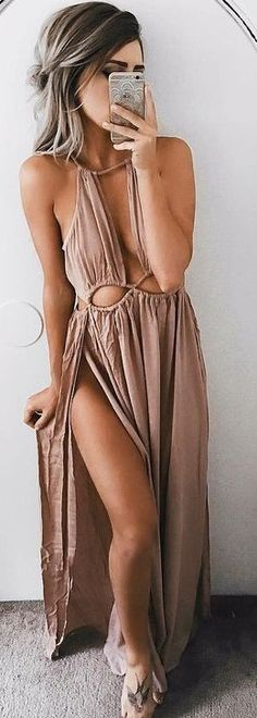 #summer #girly #outfits |  Dusty Pink Maxi Dress