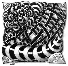 ZENTANGLE http://www.flickr.com/photos/83485167@N00/8139020885/in/photostream/ Beautiful highligts and shading. A very intense tile.