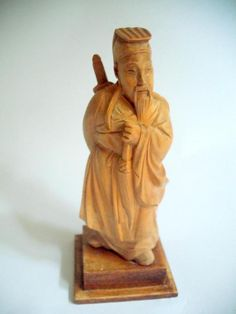 Smallish Vintage oriental carved woodenware male figure #10759