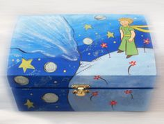 Storage Boxes – My Little Prince - Hand Painted Wooden Box – a . boxes wooden diy All categories Wooden Box Crafts, Painted Wooden Boxes, Wood Boxes, Wooden Diy, Hand Painted, Diy Gift Box, Diy Box, Diy Gifts, Keepsake Boxes