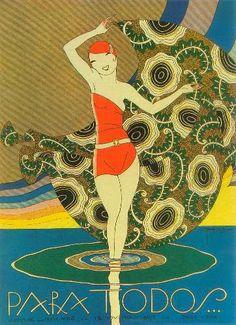 * Couverture du magazine brésilien PARA TODOS Novembre 1927 - José Carlos de Brito e Cunha, connu comme J Carlos (1884 - 1950) dessinateur, illustrateur et graphiste brésilien considéré comme l'un des plus grands représentants du style art déco en design graphique brésilien.
