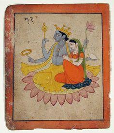 Vishnu with Lakshmi on a lotus - Series Title: Swapna Darshana. 1780 Edwin Binney Collection The San Diego Museum of Art Pichwai Paintings, Mughal Paintings, Indian Art Paintings, Islamic Paintings, Abstract Paintings, Arte Krishna, Krishna Radha, Indian Traditional Paintings, Traditional Art