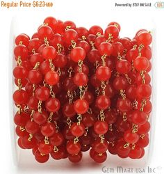 40% OFF One Foot Beautiful Orange Jade 8 mm  24k Gold Plated