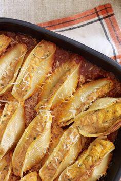 Pumpkin-Ricotta Stuffed Shells  - CountryLiving.com