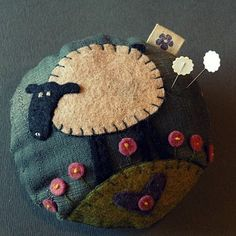 pincushion made of wool - love Anni Downs of 'hatchedandpatched'. Felted Wool Crafts, Felt Crafts, Fabric Crafts, Sewing Crafts, Sewing Projects, Wool Applique Patterns, Felt Applique, Felt Pincushions, Wool Quilts