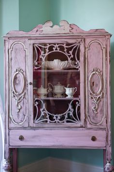 antique china cabinet shabby chic pink by VintageChicFurniture, $695.00