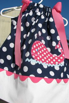 blue and pink whale applique pillowcase dress. $29.99, via Etsy.