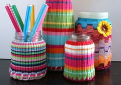 Cute idea...jars covered with old sweater sleeves