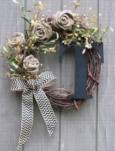 diy Burlap flowers and burlap chevron bowknot decored Rose initial Wreath - twig and leaf, Door hanger, Fall Wreath