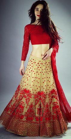 #contemporary #lehenga #ghagra #design #red #beige