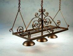 Bronze hanging pot rack with down lighting