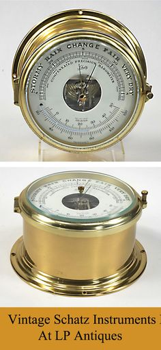 Large Schatz Marine Instruments Barometer With Celsius / Fahrenheit Thermometer in great working condition. View more marine instruments at:  http://stores.ebay.com/LP-Antiques-and-Collectables/Boat-Beach-Nautical-/_i.html?_fsub=9169641014&_sid=40022714&_trksid=p4634.c0.m322
