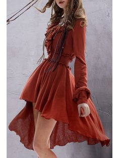Solid Color Ruffled Long Sleeve Dress - DARK RED L