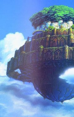 "Ghibli: Castle in the Sky. My prize of ""Oldest Animated Movie Dubbed"" goes to this one. I PRACTICALLY FELL IN LOVE WITH THE CASTLE!!! Miyazaki Hayao is a brilliant man. Genius."