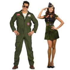 Pareja Disfraces de Aviadores Americanos #parejas #disfraces #carnaval