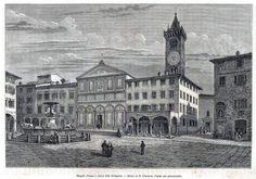 Antique print Empoli Tuscany, Italy 1876 stampa antica