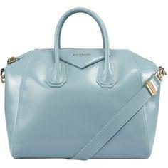 Givenchy Antigona Sky Blue Leather Medium Satchel Bag w/ Shoulder... ($1,495) ❤ liked on Polyvore featuring bags, handbags, blue, givenchy, genuine leather handbags, real leather handbags, leather handbags and givenchy handbags
