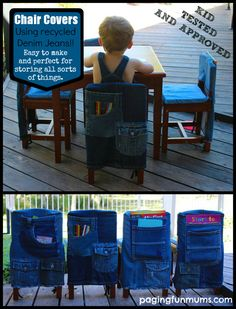 for the boys chairs The post Recycled Denim Kids Chair Covers 2019 appeared first on Denim Diy. Jeans Recycling, Recycle Jeans, Repurpose, Reuse, Jean Crafts, Denim Crafts, Sewing Projects, Diy Projects, Denim Ideas