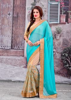 Buy Sky Blue Net Half and Half Saree With Blouse 66883 with blouse online at lowest price from vast collection of sarees at Indianclothstore.com.