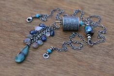 Sterling Silver Anne Choi Rustic Line 'Beware' OOAK Necklace -talisman,metalwork,wish,faith,spiritual,strenght,shimmering blue Basha bead