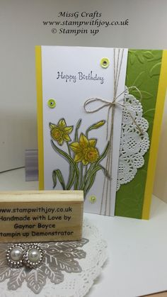 "For tonight's card i have used the wonderful ""You're Inspiring"" stamp set from stampin up. Because of the daffodil's I decided to us..."