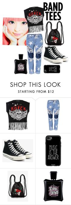 """Band tees"" by medusa88 ❤ liked on Polyvore featuring Boohoo, Converse, Casetify, Monki and MANGO"