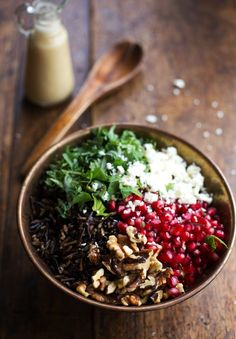 Pomegranate, Kale, and Wild Rice Salad with Walnuts and Feta - autumn salad Healthy Recipes, Whole Food Recipes, Salad Recipes, Vegetarian Recipes, Cooking Recipes, Vegan Vegetarian, Healthy Foods, Kale Salad, Soup And Salad