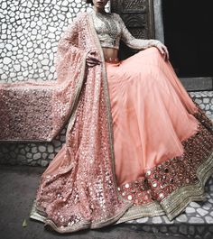 Peachy Pink Sequined Georgette #Lehenga With Threadwork On Net Dupatta & Mirror Work On Border.