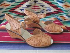 On Hold Festive 1950's hand tooled Mexican leather by wearitagain, $98.00