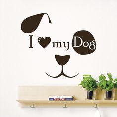 Wall Decal Quote I Love My Dog Face Art Kids Pet Shop Decor Sticker Murals AM114 #Stickalz
